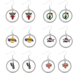 floating hoop dangle earring charm NBA PICK YOUR TEAM
