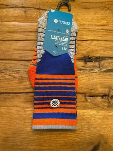 Men's Blue York Knicks Core Stripe Crew Socks Size Free