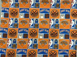 NBA Basketball NY New York Knicks Cotton Fabric by the HALF