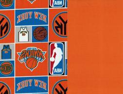 NBA NY New York Knicks Print 100% Cotton Fabric ~Mask Cuts &