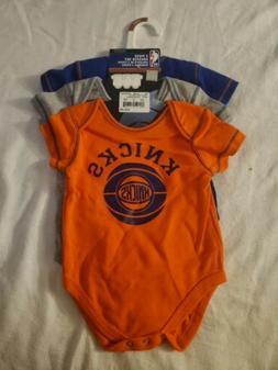 New York Knicks 3 Piece Creeper Set Newborn Size 3-6 Months