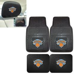 New York Knicks 4 Piece Heavy Duty Car Mats and 2 Head Rest