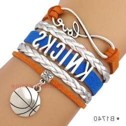 New York Knicks Leather Basketball Charm Bracelet Quality Fa