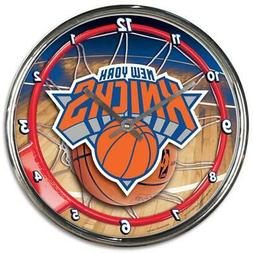 New York Knicks Chrome Round Wall Clock  NBA Sign Banner Off