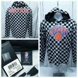 NEW YORK KNICKS L Large NBA Hoodie NWT Black & Gray Checkere