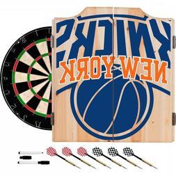 New York Knicks NBA Dartboard Cabinet Set includes 6 Steel T