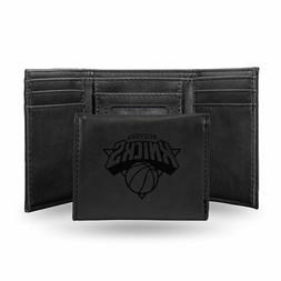 New York Knicks NBA Laser Engraved Black Trifold Wallet