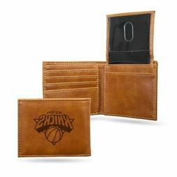 New York Knicks NBA Laser Engraved Brown Billfold Wallet