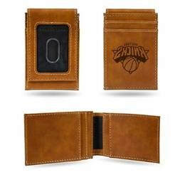 New York Knicks NBA Laser EngravedBrown Front Pocket Walle