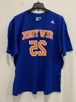 Adidas New York Knicks Rose #25 Men's Tee Shirt Blue Orange