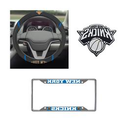 New York Knicks Steering Wheel Cover, License Plate Frame, 3