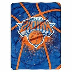 New York NY Knicks NBA Shadow Play Raschel Royal Plush 60x80
