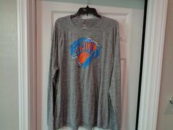 NWT New York Knicks Majestic Long Sleeve Shirt Gray, Mens Sz