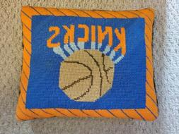 Vintage New York Knicks Knit Stiched Throw Pillow NEEDLEPOIN